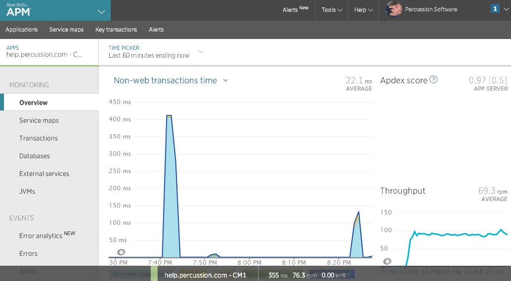 Screenshot of New Relic APM Dashboard with Metric Logging from a Percussion installation