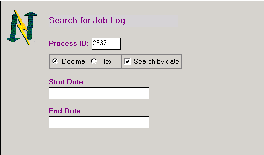 Screenshot of Notrix Search for Job Log