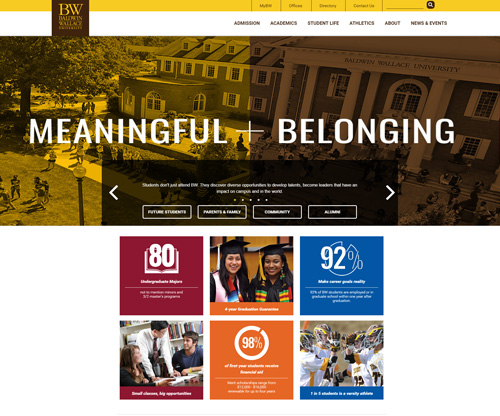 Baldwin Wallace University Homepage Screenshot
