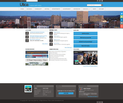 City of Utica, NY Homepage Screenshot