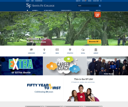 Santa Fe College Homepage Screenshot