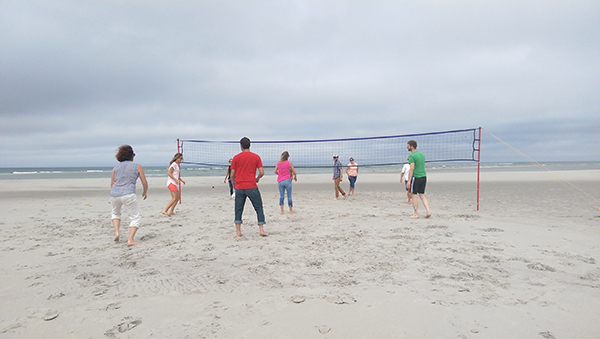 Playing Volleyball at the Percussion Summer Clambake!