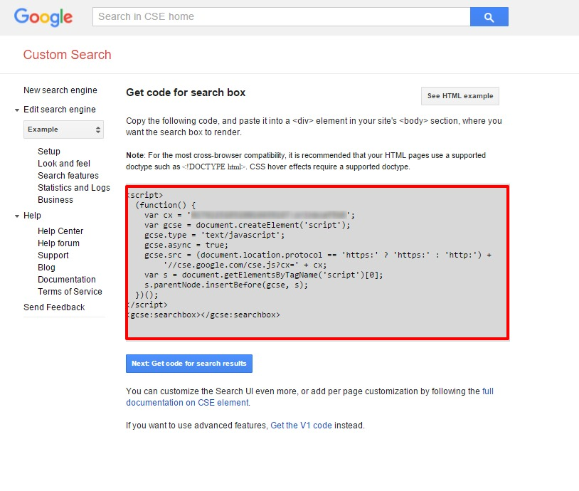 Google Custom Search Dashboard Get Code Screen
