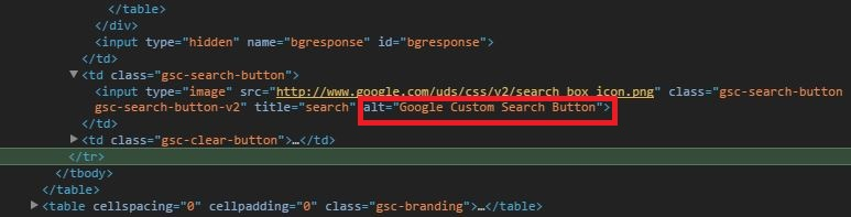 Google Custom Search alt attribute code