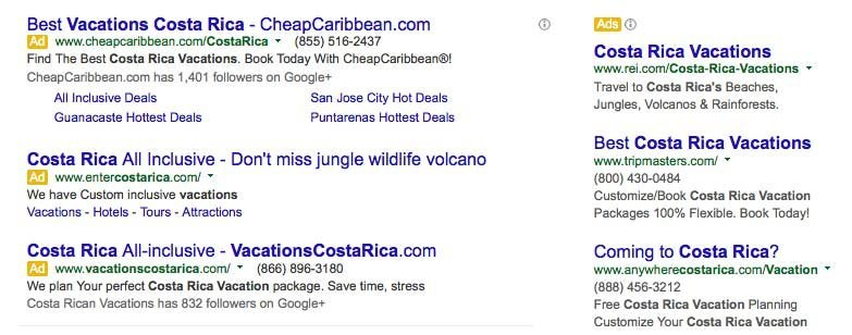 Costa Rica Google Search Screenshot