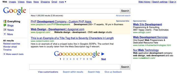 Google Search Screenshot Highlighted Ad